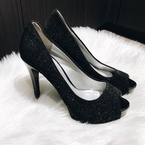 Guess peep toe sparkly heels